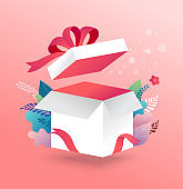 Lucky box, opened white present box with red ribbon. Sale concept design, give away promotion. Vector illustration