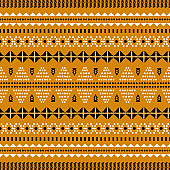 Tribal ethnic embroidery geometric shapes seamless vector pattern. Stitched textured shapes background.