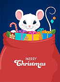 Santa Mouse, Chinese New Year and Merry Christmas concept design. Vector illustration in flat style