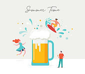 Summer scene, group of people, family and friends having fun against the huge beer, surfung, swimming in the pool, drinking cold beverage, playing on the beach