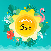 Summer fun background, sun, leaves and flamingo illustration and banner design. Sale poster