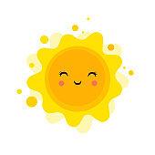 Summer fun background, sun illustration and banner design. Sale poster