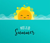 Summer fun background, sun illustration and banner design. Sale poster