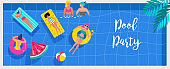 Pool party invitation, background and banner with miniature people swimming and having fun on the pool. Vector illustration