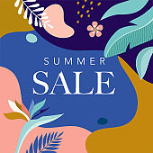 Summer Sale poster with tropic leaves and flamingo, banner and background in modern flat style. Vector illustration