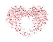 heart of pink sakura flowers vector design
