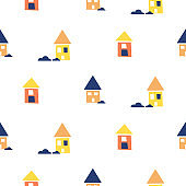 Village houses pattern vector background. White seamless pattern.