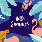 Hello Summer, vector banner design with flamingo and tropical leaves