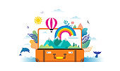 Travel, tourism, adventure scene with open suitcase, leaves, rainbow and miniature people, modern flat style. Vector illustration