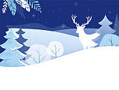 Winter Landscape Background. Christmas banner. Flat Vector Illustration
