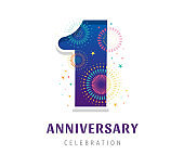 Anniversary fireworks and celebration background, number and firecracker, vector design and illustration
