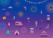 Fireworks, firecracker at night, celebration background, winner, victory poster, banner - vector illustration