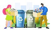 Couple sorting paper and electronics wastes. Woman and man throwing garbage in recycling bins. Flat vector illustration.