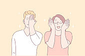 Facepalm gesture, joyful mood, funny situation concept