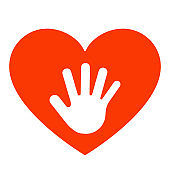 Hand in red heart. Care, participation, together, volunteering and helping concept. Vector illustration
