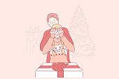 Christmas, surprise, family concept