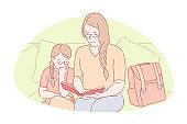 Family bonding, home education, happy motherhood concept