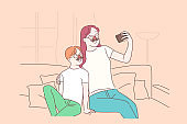 Happy motherhood, mother and son friendly relationship, family pastime, parenthood benefits concept