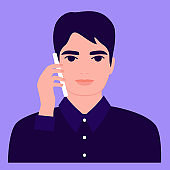 Young man is calling, front view. Communication, conversation, answer, support, talk, discussion, dialogue on smartphone, mobile phone. Office work. Vector flat illustration