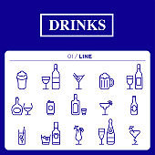 a set of drinks icon line