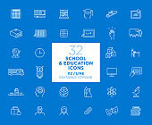 Set of School and Education white icons in line - Back to School