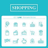 set of shopping icons in line