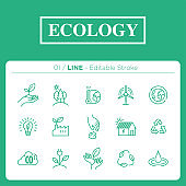 set of ecology icons in line