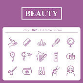 set of beauty icons in line