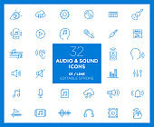 Set of Audio and Sound icons in line