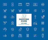 Set of Shopping white icons in line