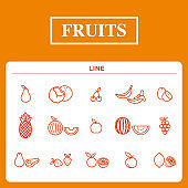 a set of fruits icon line