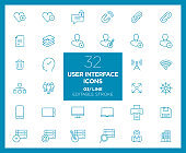 Set of User interface icons in line