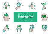 Set of Ecology friendly color icons - Modern icons