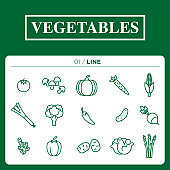 a set of vegetables icon line