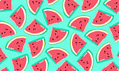pattern with watermelon slices. Vector illustration.