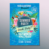 summer beach party poster holiday tropical cocktail