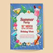 summer holiday party poster with tropical cocktail