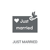 Just married icon. Trendy Just married logo concept on white background from Birthday party and wedding collection