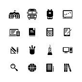 School Elements solid icon set on white background.