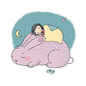 Sleeping Cartoon Girl and Bunny. Good night. Sweet dreams. Vector illustration. bed time. Isolated objects on white background.