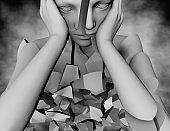 Bipolar mental disorder, schizophrenia disease 3d illustration.