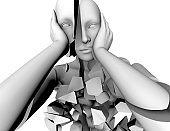 Mental illness, emotional stress and bipolar disorder 3d concept illustration.