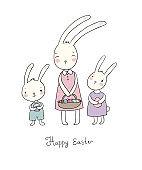 Easter bunnies. Cute cartoon hares with eggs.