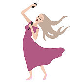The girl sings and shoots with phone. Singer of a karaoke. Vector illustration