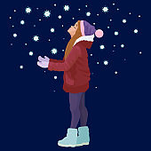 Winter. Girl student catches snowflakes. Vector illustration