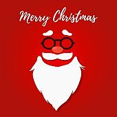 Vector papercut Christmas symbol - Santa Claus beard, mustaches, glasses