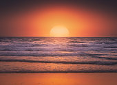 Seascape background of beautiful sunset in the sea in summer