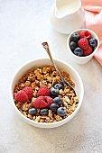 Granola with fresh berries.