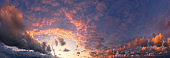 panorama of beautiful cloudscape with red clouds at sunset