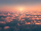 above sea of fog at sunrise